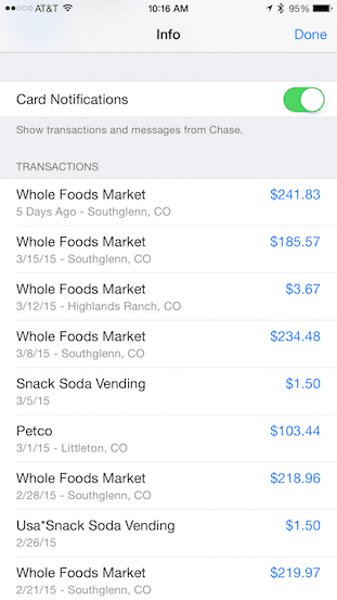 List of credit card transactions for Apple Pay