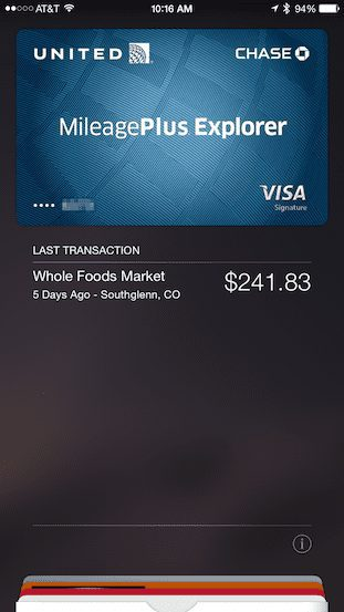 Credit card in Apple Pay