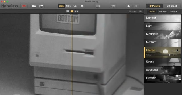 Noiseless UI, showing image before (left) and after (right) noise reduction is applied. Controls are at far right.
