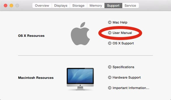About This Mac, with link to User Manual highlighted