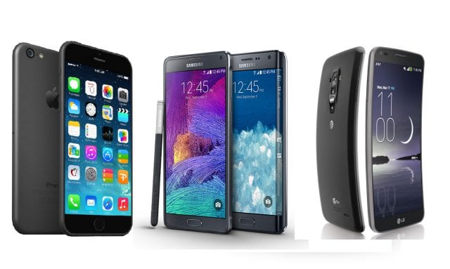iPhone 6, Samsung Galaxy S6 and S6 Edge, and LG G Flex