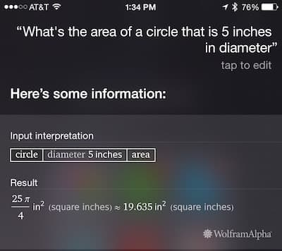 Siri: Find the area of a circle with known diameter