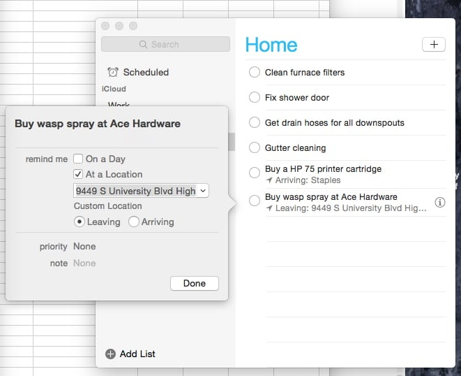 Completed location-based reminder in OS X