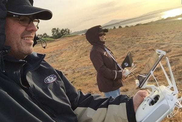 While it might be possible for one person to handle the drone and camera controls, Jeff Foster is a firm believer in having a specially trained (and certified) drone pilot at the flight controls and a solid, creative person handling the camera action.