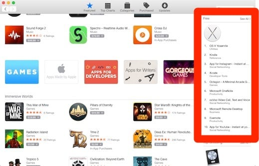 Free downloads from the Mac App Store
