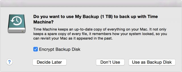 Time Machine reacting to a new external drive