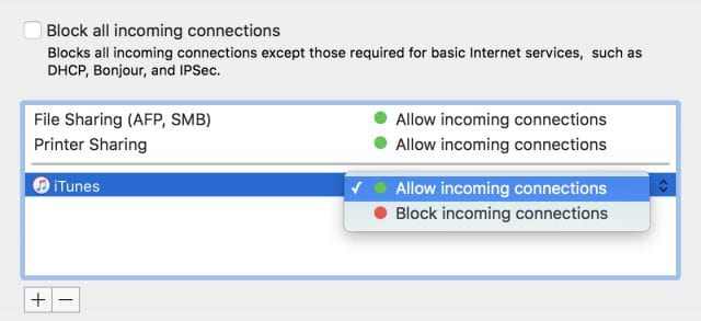 The toggle for blocking incoming connections