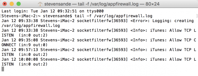 Viewing the firewall log in real time in Terminal