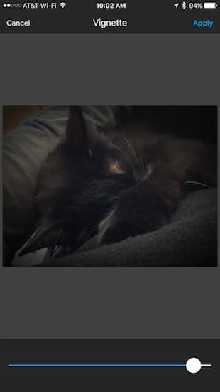 Adding a vignette to a photo in Aviary