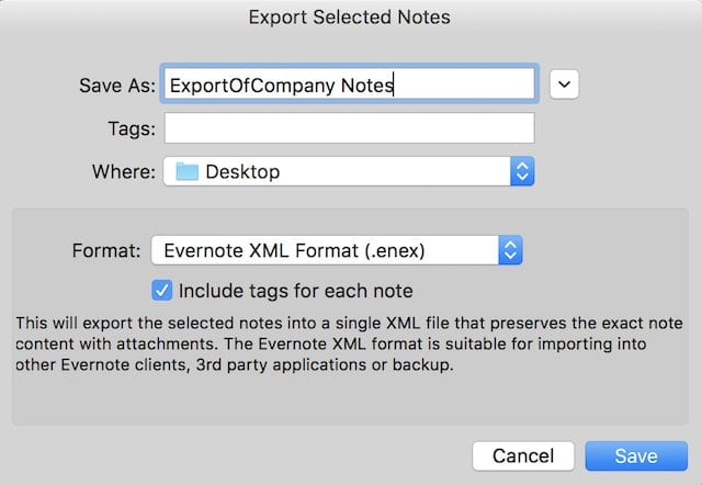 Exporting from Evernote