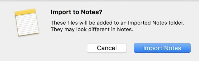 Importing Evernote notes into Notes