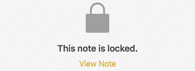A locked note in iOS