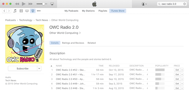 OWC Radio in iTunes