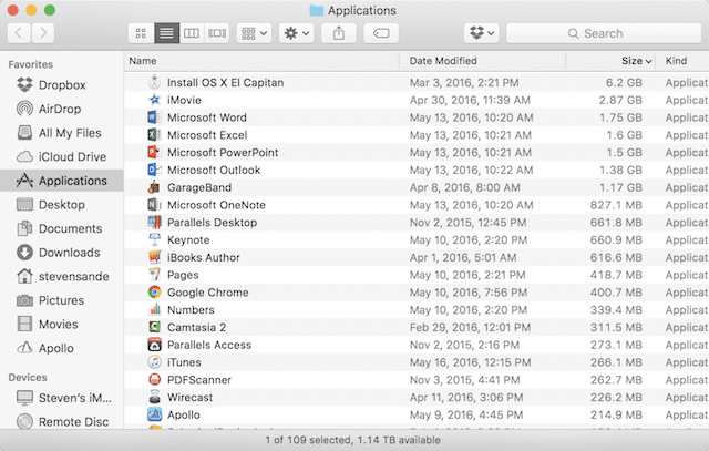 Listing the contents of the Applications folder by size.