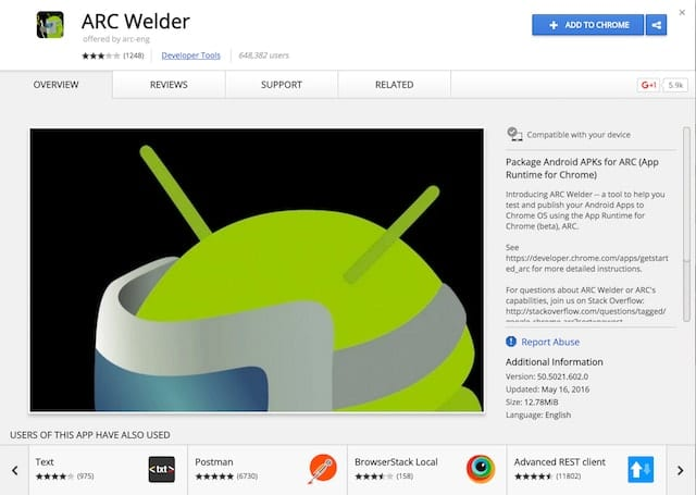 ARC Welder in the Chrome Web Store