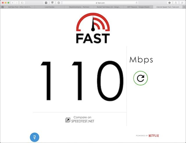 The clean and simple Fast.com download speed test