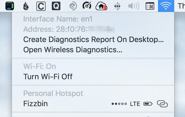 Using the option key and Wi-Fi icon to find the interface name and MAC address for Wi-Fi