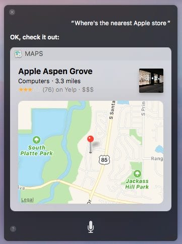 Asking Siri on the Mac for the nearest Apple Store