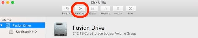 Disk Utility, with the Partition button highlighted