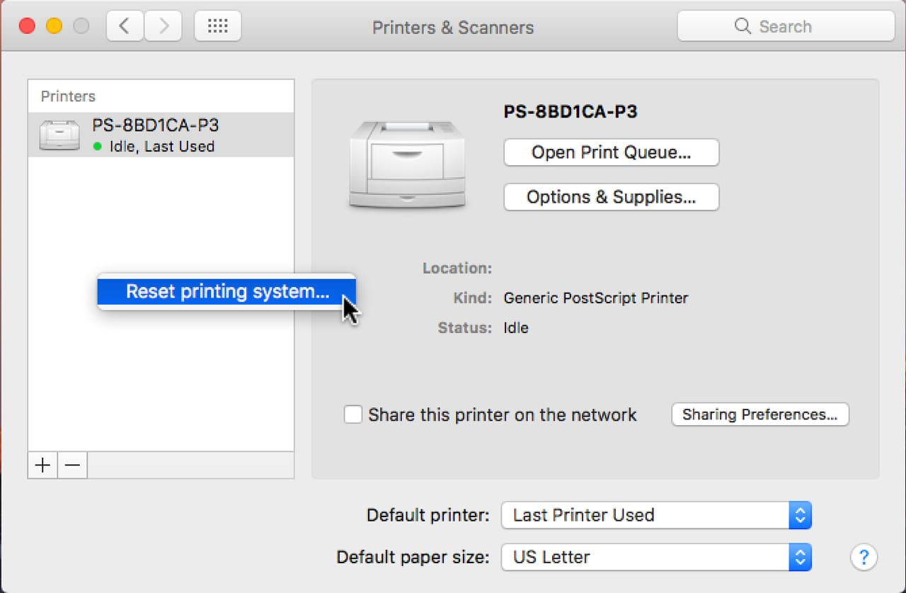 (Resetting the printing system lets you start with a clean slate.)
