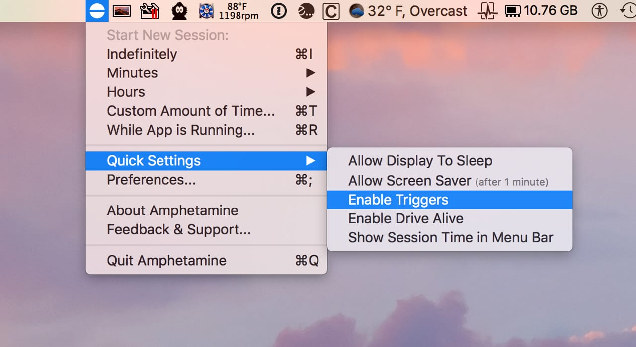 (Amphetamine can keep you Mac awake for any length of time, or you can use Triggers, the monitoring of events. As long as the event is occurring, your Mac remains awake.)