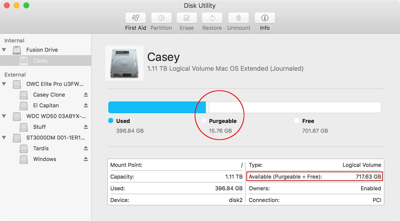 (Disk Utility displays purgeable space both in a bar graph and combined with free space in an information table.)