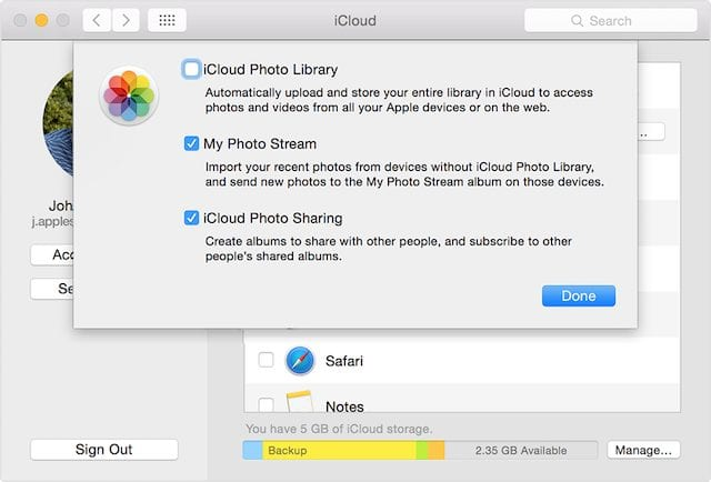 Turning on My Photo Stream in macOS