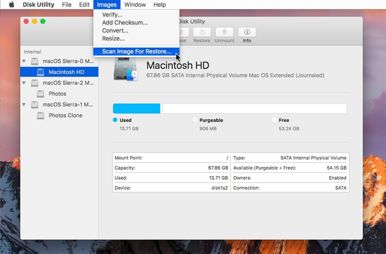 (Preparing an image file for restoring can be done from within the Disk Utility app.)