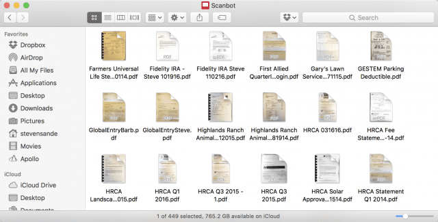 A tiny fraction of the hundreds of scans in my scan folder