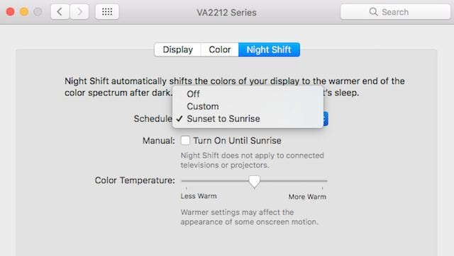 New Night Shift pane in System Preferences > Displays
