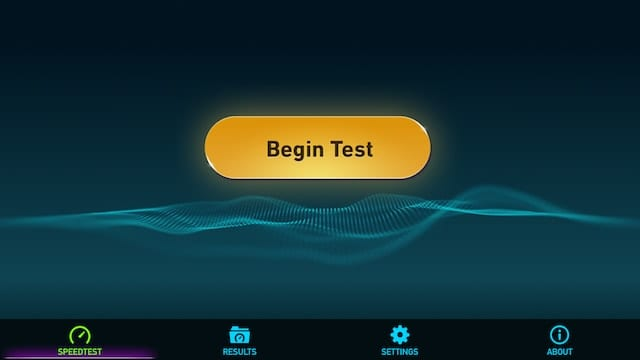 Starting Ookla Speedtest is as easy as tapping one button