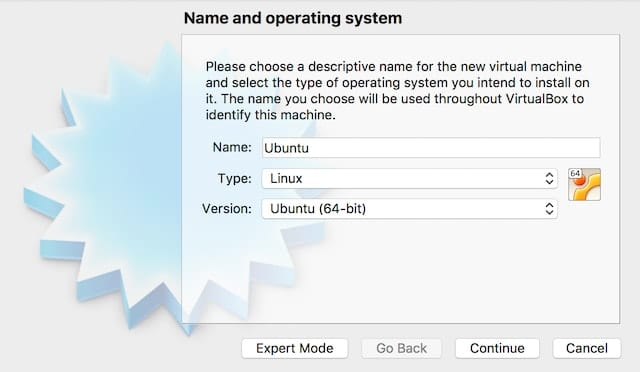 Naming the VM and selecting the type and version of Linux to install