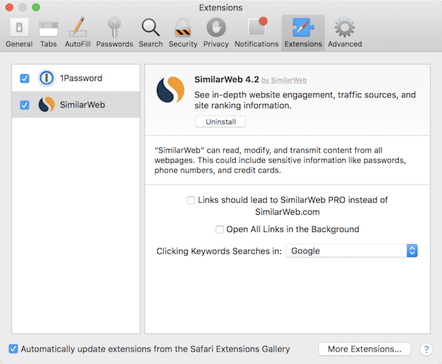 Use Safari > Preferences > Extensions to temporarily disable or remove browser extensions