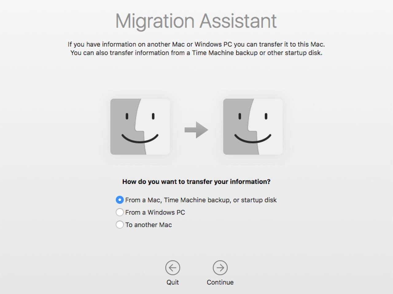 Screenshot of Migration Assistant Transfer Choice