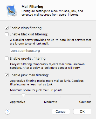 Setting up virus and spam filtering