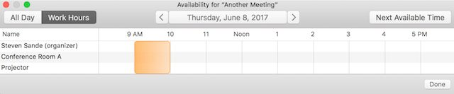 Checking availability of attendees, locations, and resources
