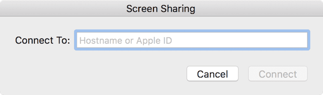 The minimalist Screen Sharing dialog