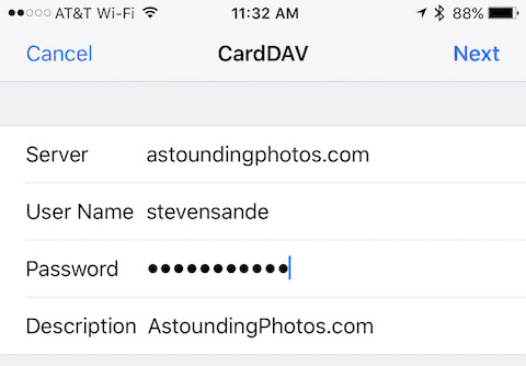 Adding a CardDAV account to the iOS Contacts settings