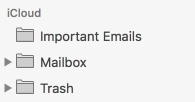There's our new Mailbox at the top of the iCloud list