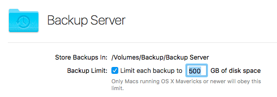 A backup folder and maximum space available per user have been selected