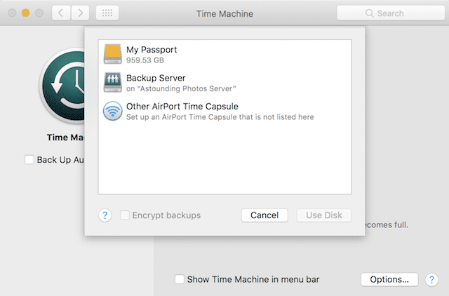 Selecting the Time Machine target drive