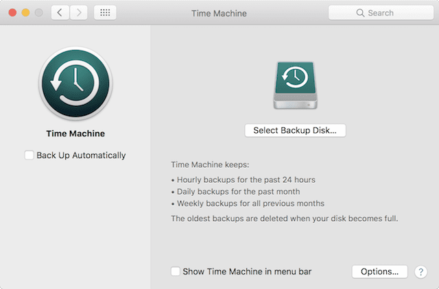 The Time Machine pane in System Preferences