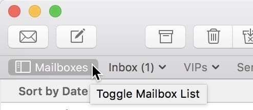 Toggling the Mailbox List so it is viewable