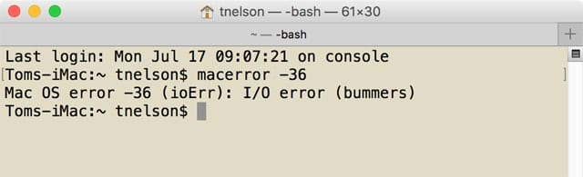 The macerror app can be used to decipher some of the more obscure numerical error codes