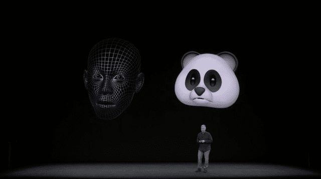A digital face map (left) and the corresponding Animoji at right