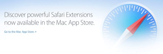 New link to Safari Extensions in the Mac App Store