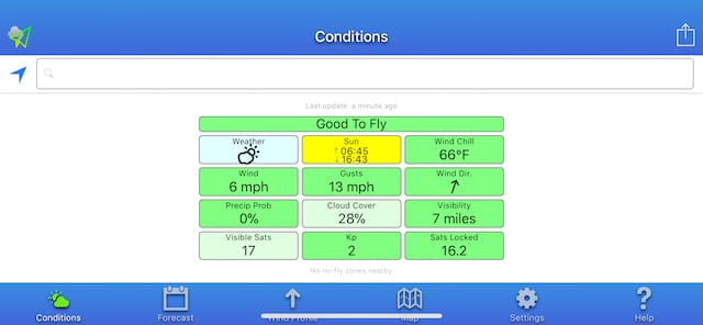 Green = Go! UAV Forecast gives a complete weather briefing at a glance.