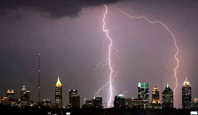 Lightning Strike over city