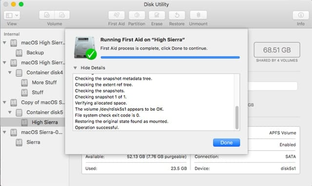 Disk Utility's First Aid tool