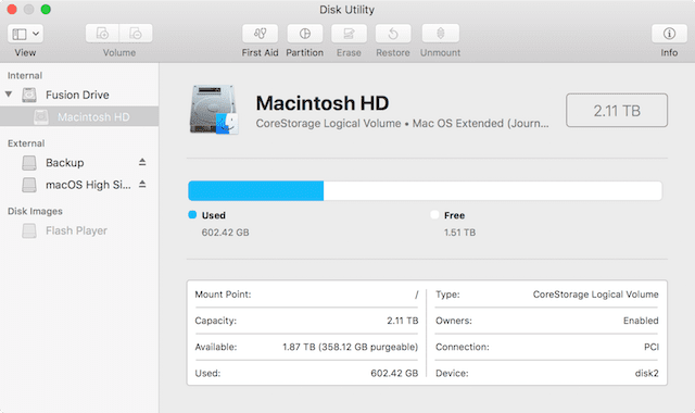 Disk Utility, showing basic information about the boot disk in a Mac